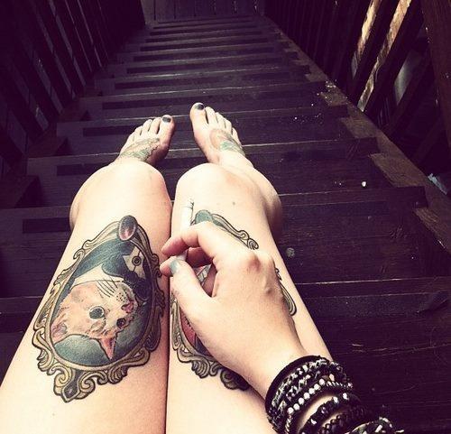 cat frame tattoo